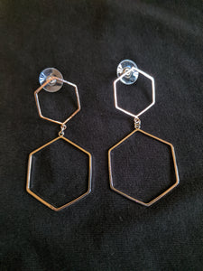Earrings - Honeycomb double drop