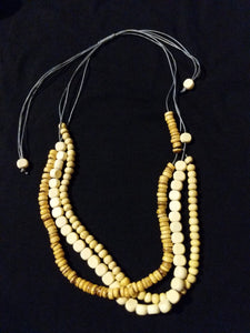 Short (adjustable) wooden bead necklace