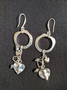 Silver Plated Circle With Heart charm chain Earrings