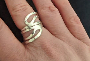 Adjustable Metal Abstract  Ring