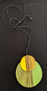 Wooden Adjustable Double Disc Necklace