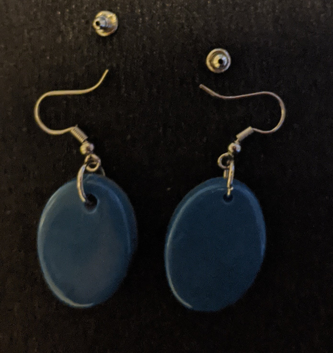 Double Sided Oval Drop Earrings