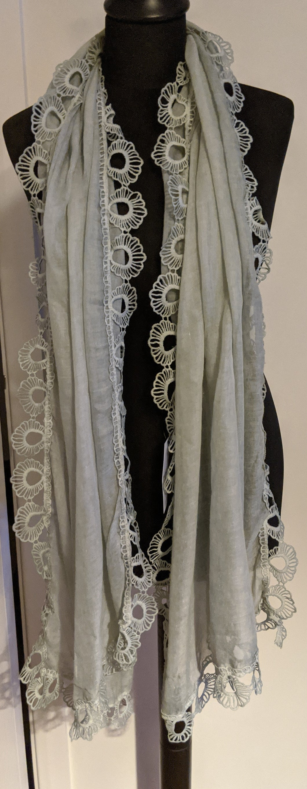 Scarf/Shawl with Lace Scallop edge