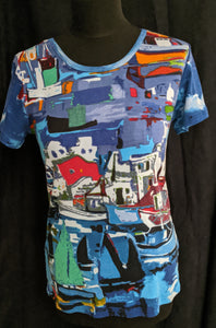 Orientique  Cotton T- Shirt Boats Print