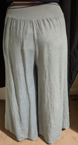 "Cadenza Wide Leg Linen Trousers - ""Magic"" Culottes with Belt"
