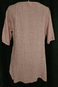 Italian Linen Tunic - Short Sleeve with Button Detail