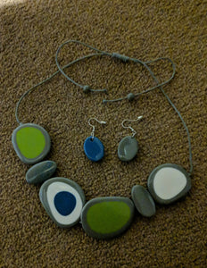 Pebble Resin Necklace - Adjustable Length Spot Design