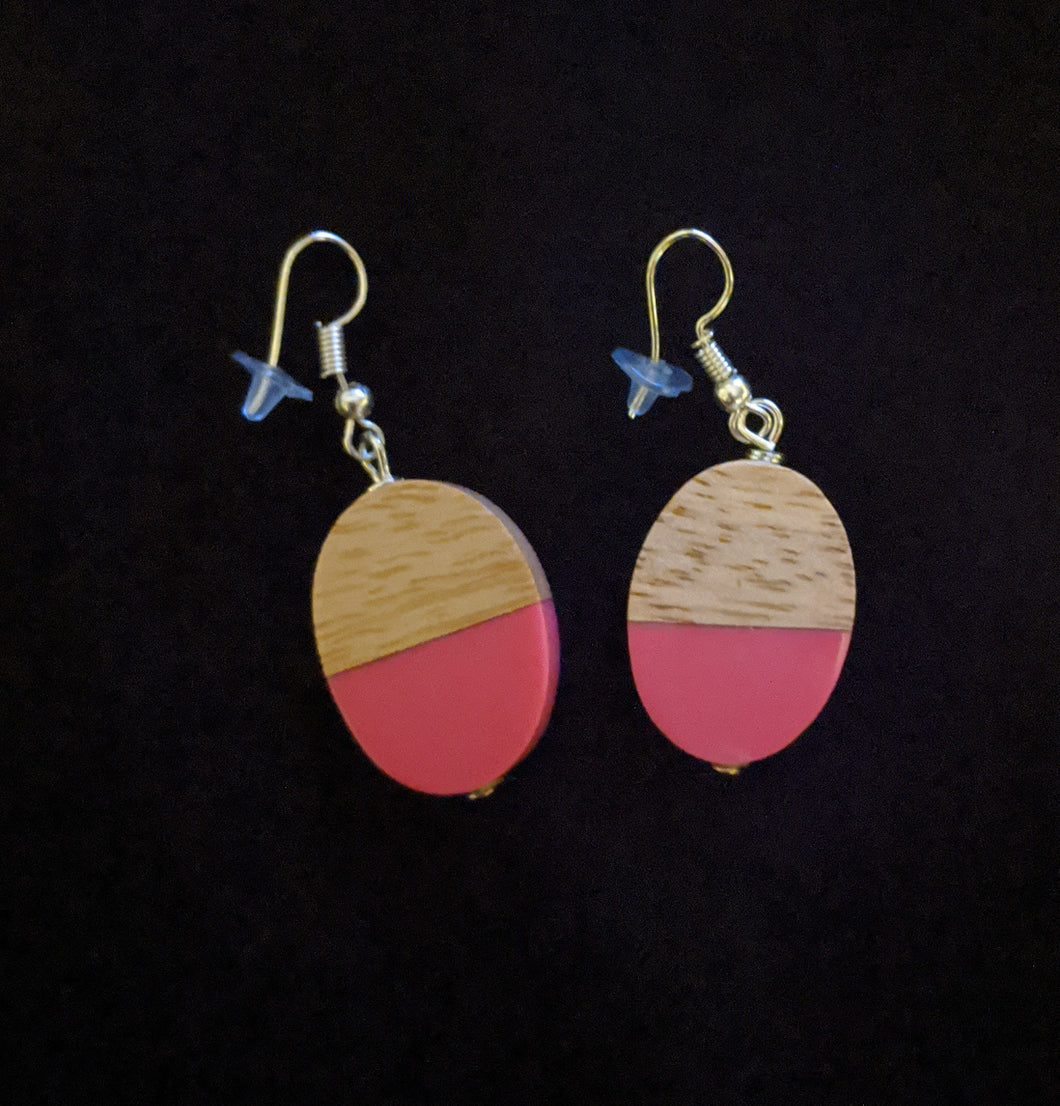 Oval Earrings - Resin/Wood Drops