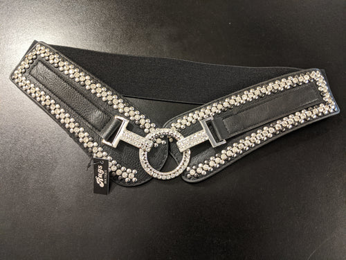 Belt - Elasticated and synthetic  with Stud /Diamante Detail