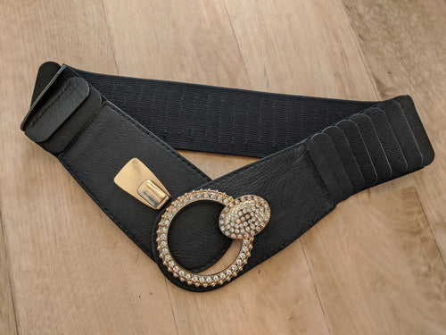 Belt with Diamante Ring Buckle