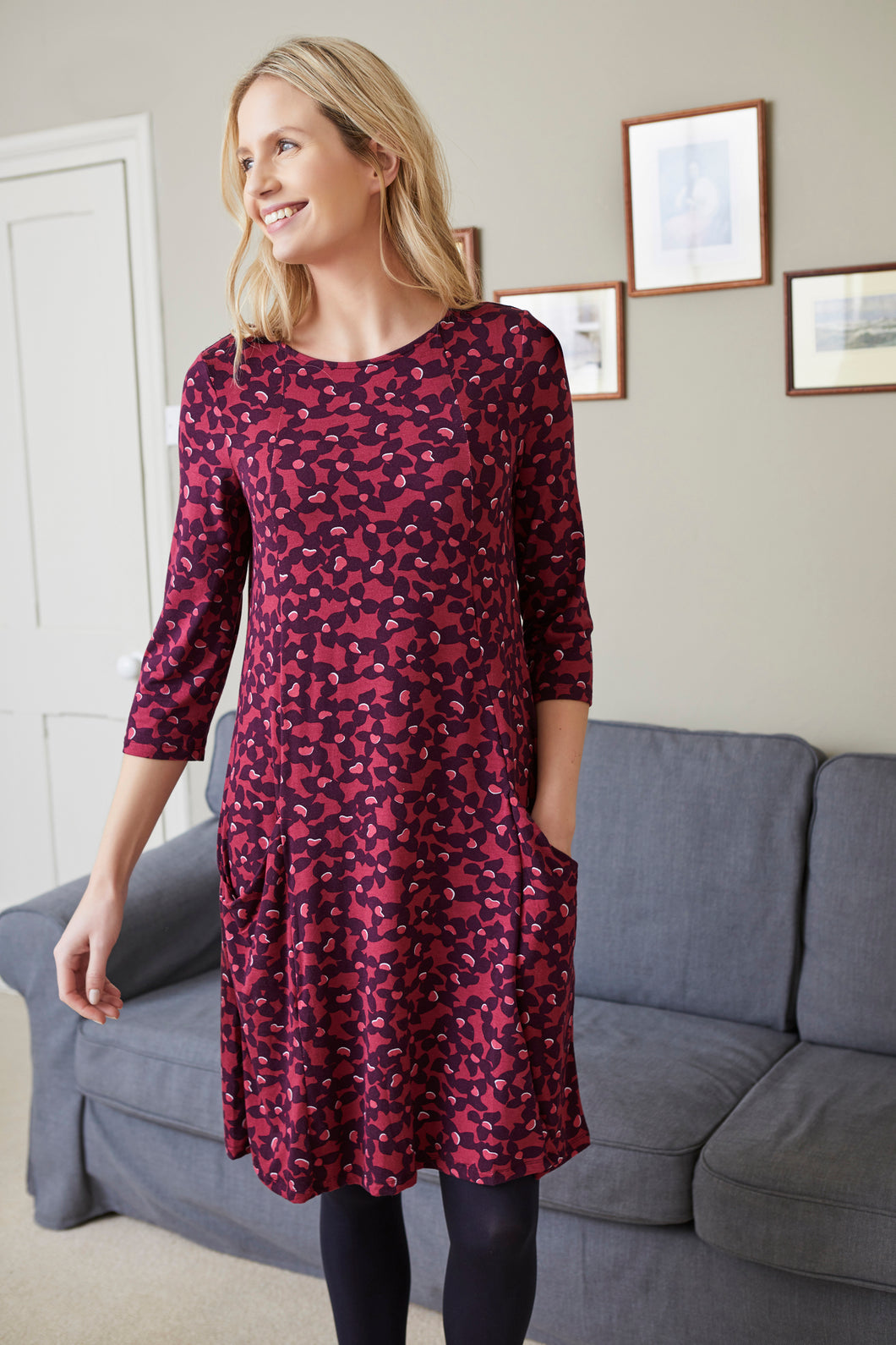 Lily & Me Slouch Pocket Dress in Petunia Print