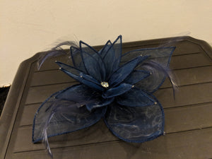Navy spring metal grip fascinator