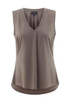 Marble sleeveless top in taupe