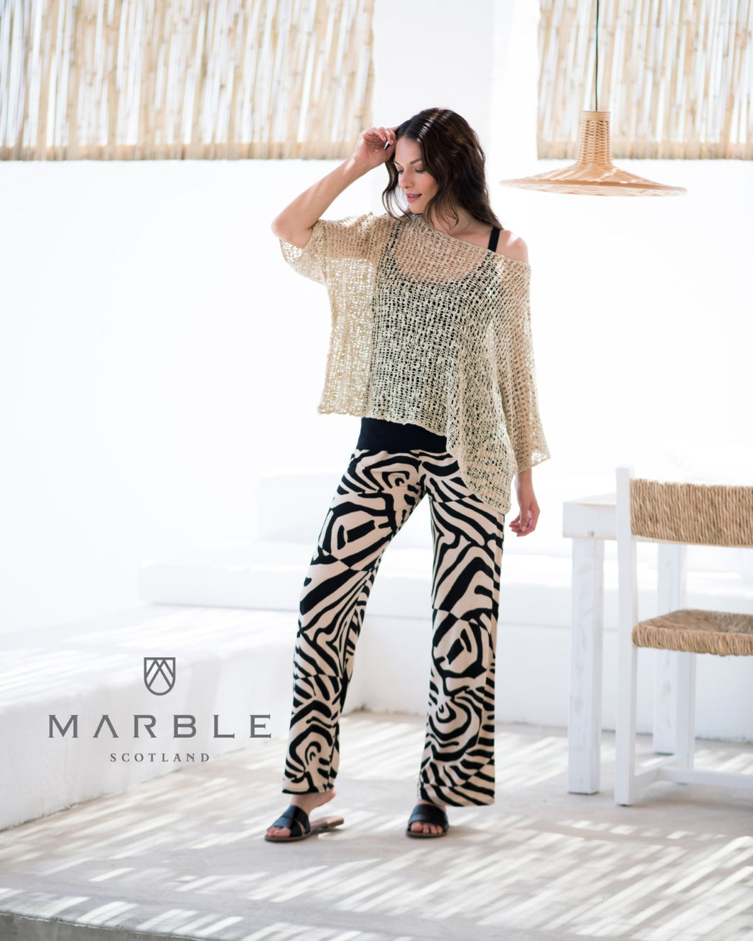 Marble Trousers - Black/beige