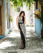 Load image into Gallery viewer, Marble maxi dress in black/beige