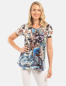 Orientique Cotton T- Shirt Bicycle Print