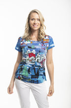 Load image into Gallery viewer, Orientique  Cotton T- Shirt Boats Print