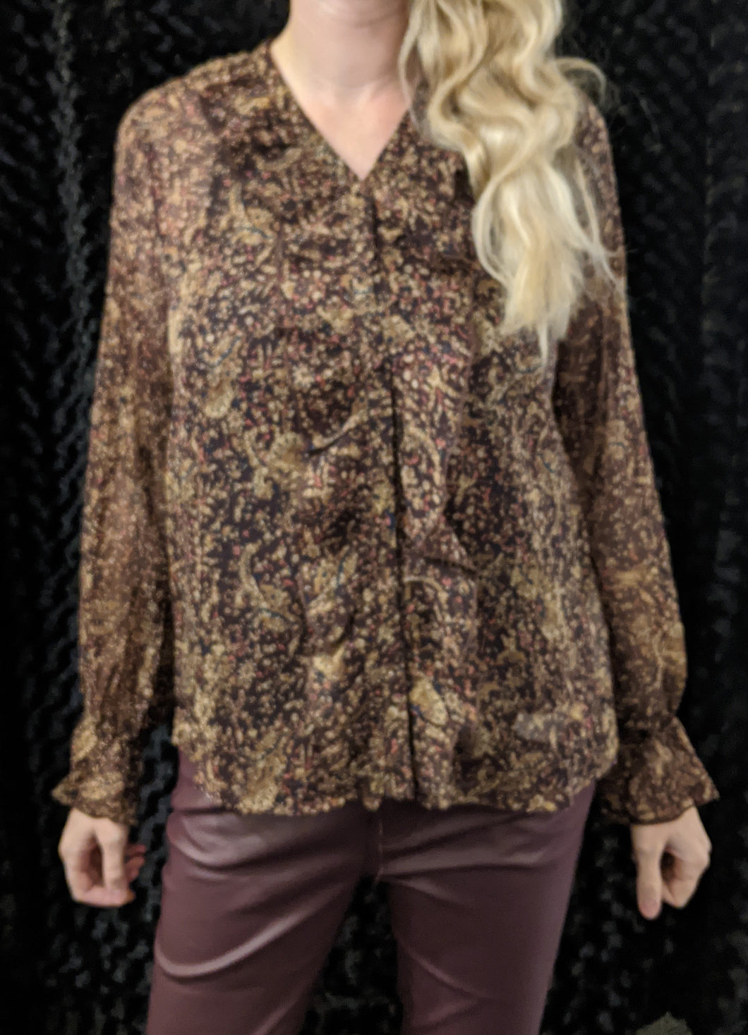 b.young Pattern Georgette  Blouse Wine Combo