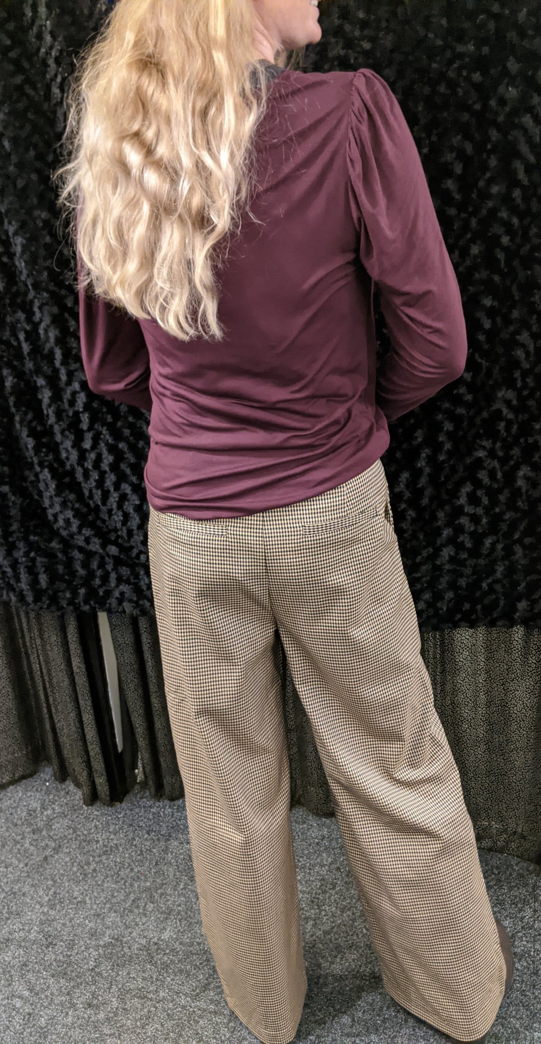 b.young Trousers with Check Print and Wide Leg