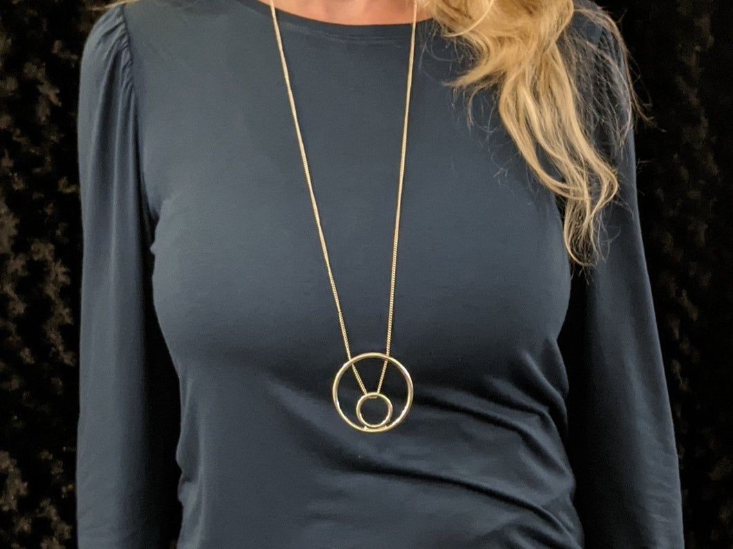 Long Necklace with Big Circle Little Circle Pendant