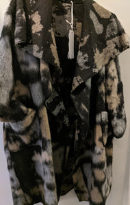 Long Coat - Lightweight Wool Mix Abstract Print