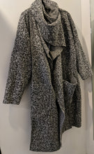 Load image into Gallery viewer, Long  Open Coat in Boucle with Faux Hood/ Front Cowl Scarf