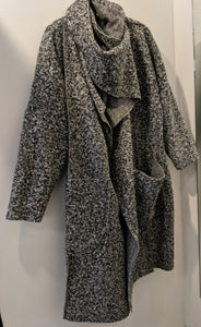 Long  Open Coat in Boucle with Faux Hood/ Front Cowl Scarf