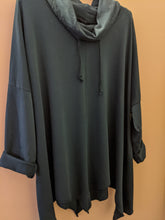 Load image into Gallery viewer, Loungewear Sweater/Tunic with Drawstring Cowl and Zig Zag Hem