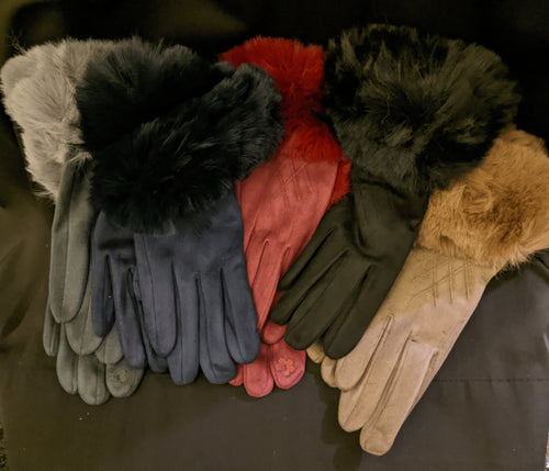 Gloves with Faux Fur Trim and Fleece Lining