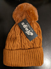 Load image into Gallery viewer, Cable Knit Bobble Hat with Fleece Lining