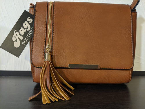 Neat Handbag - Synthetic with Vertical Tassel Zip