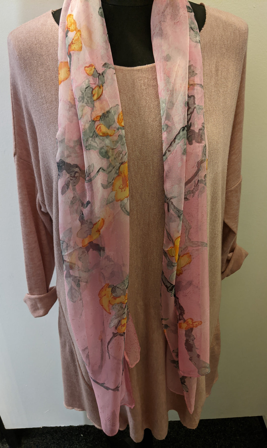 Lightweight Scarf with Japanese Blossom Print