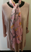 Load image into Gallery viewer, Lightweight Scarf with Japanese Blossom Print