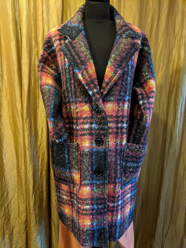 Soft Wool/Mix Coat with Check Pattern