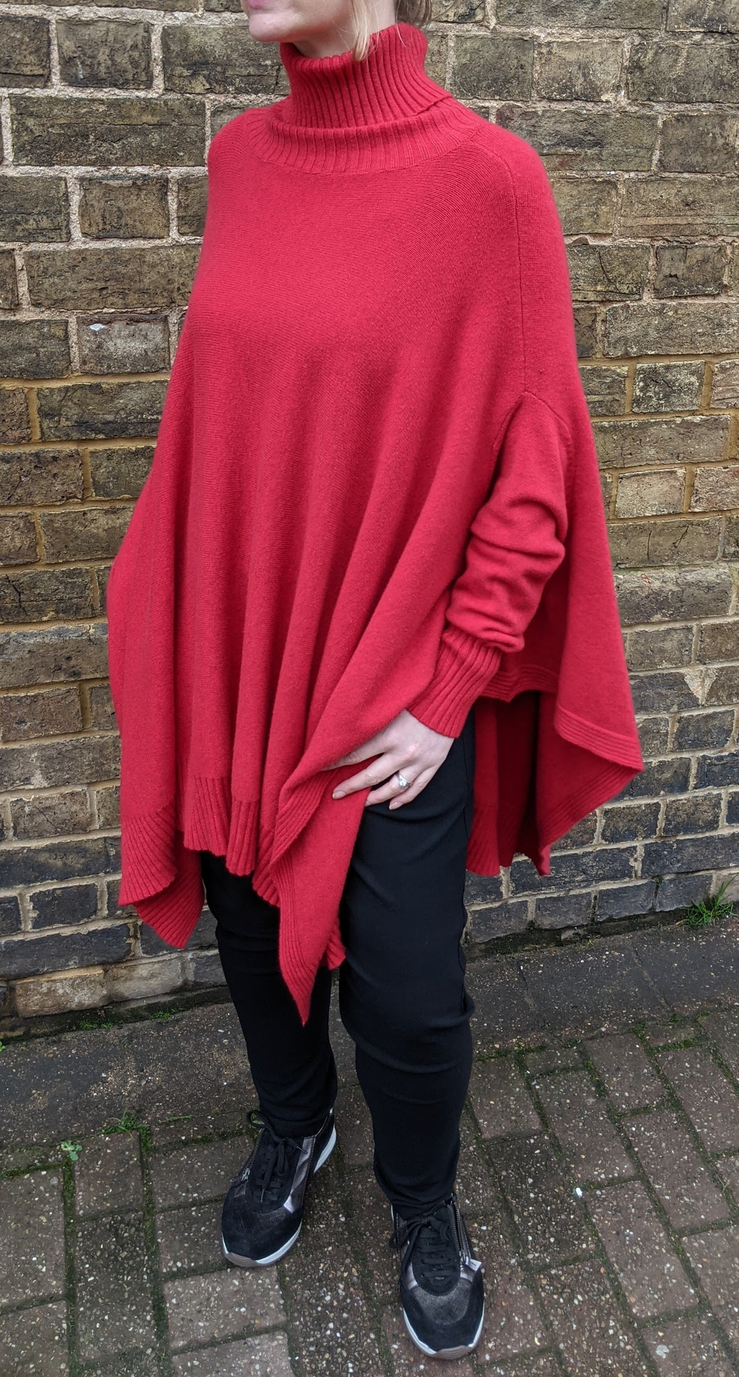 Oversize Polo Neck Poncho with Sleeves - Fine Knit
