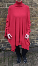 Load image into Gallery viewer, Oversize Polo Neck Poncho with Sleeves - Fine Knit