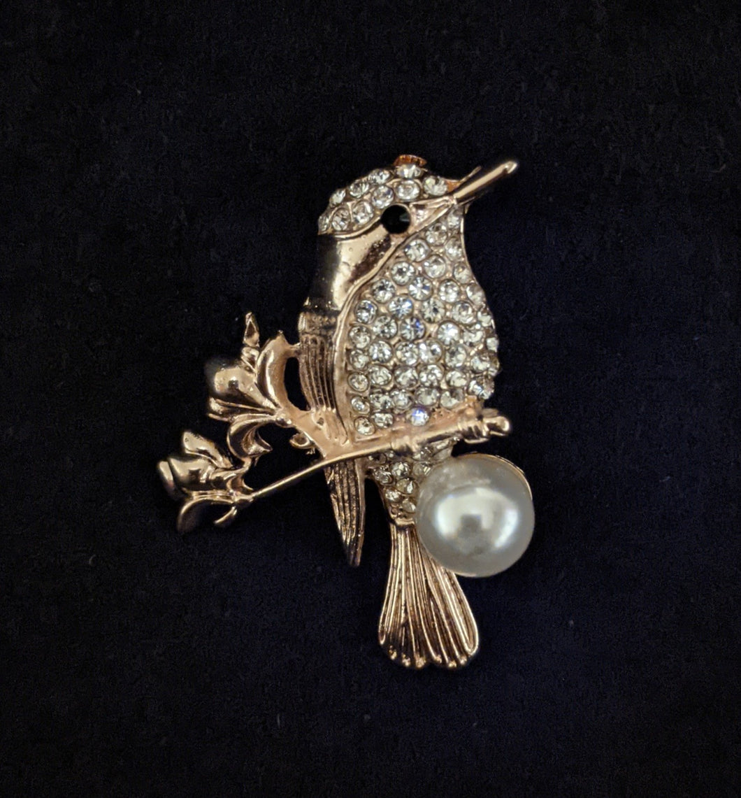 Diamante Kingfisher Brooch