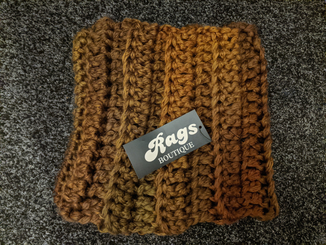 Hand Crochet Neck Warmer/Scarf - Graduated Browns/Mix