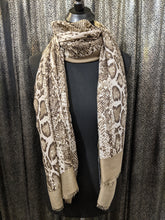 Load image into Gallery viewer, Scarf/Shawl - Lightweight Reptile Print with Border
