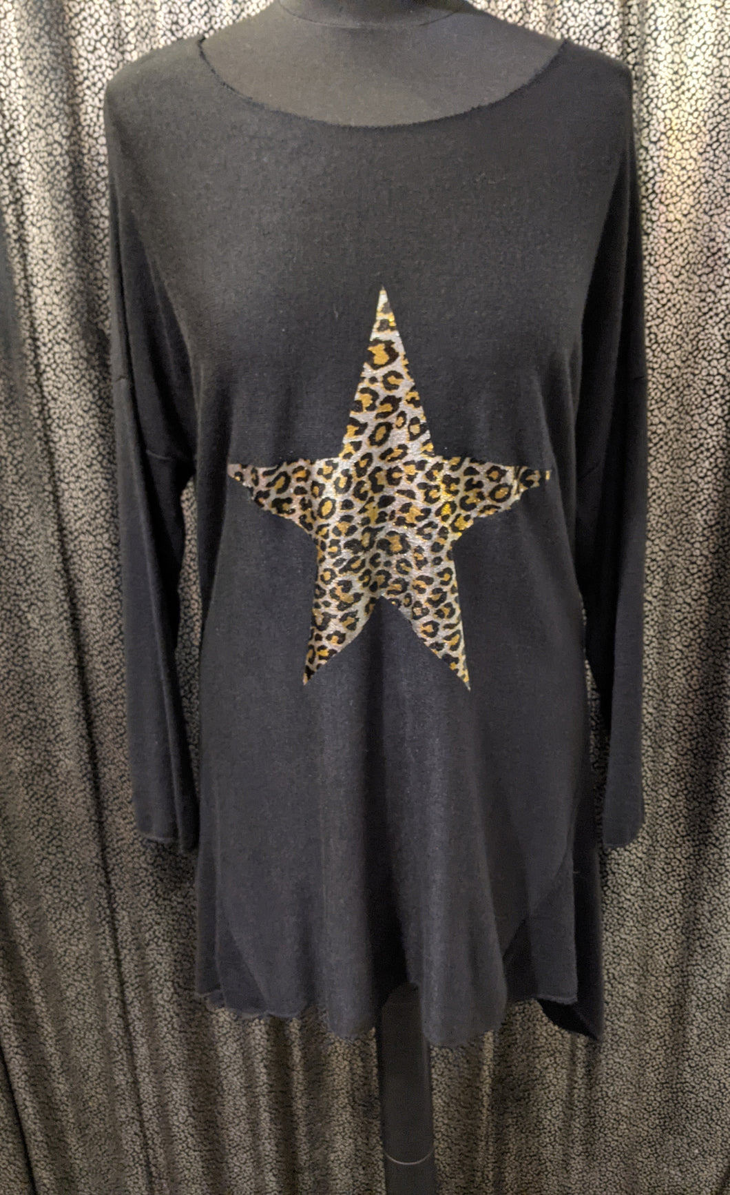 Made In Italy Soft Brushed Tunic with Foil Leopard Star