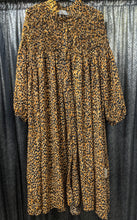 Load image into Gallery viewer, Animal Print Button Through Dress with High Ruffle Neck
