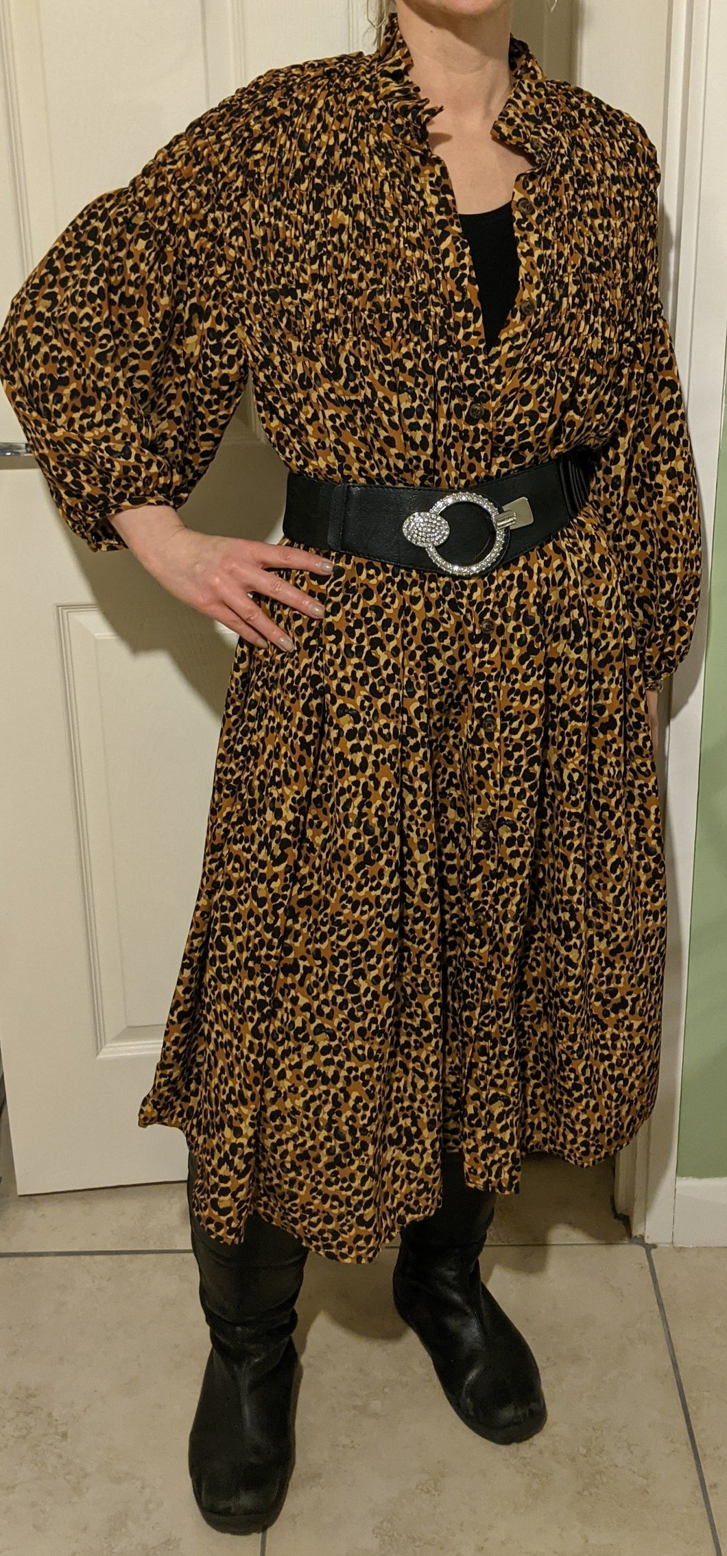 Animal Print Button Through Dress with High Ruffle Neck
