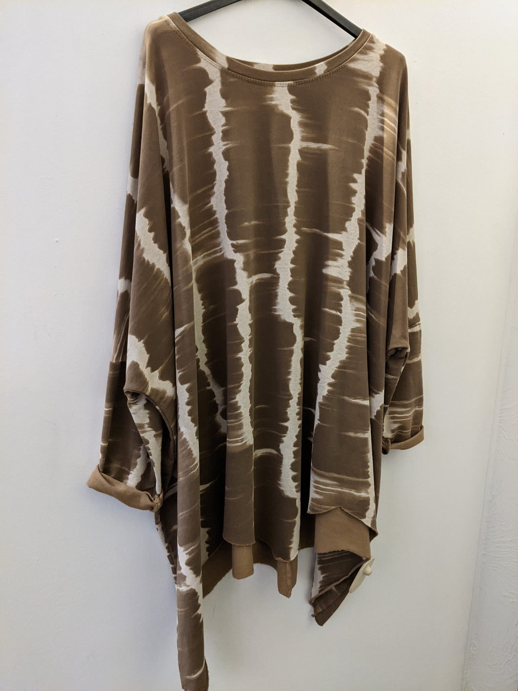 Oversize Loungewear Sweatshirt/Tunic with Tie Dye Stripes and Zig Zag Hem
