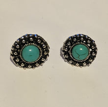 Load image into Gallery viewer, Boho-Vintage Inspired Stud Earrings with Coloured Stone