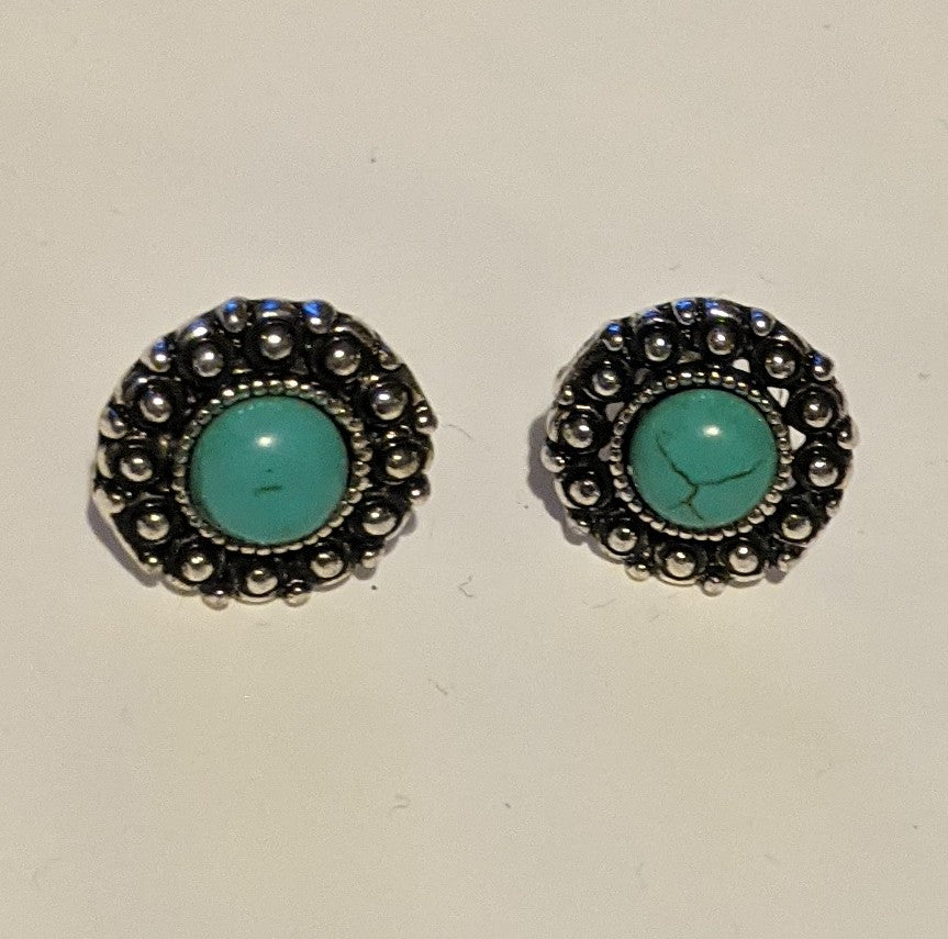 Boho-Vintage Inspired Stud Earrings with Coloured Stone