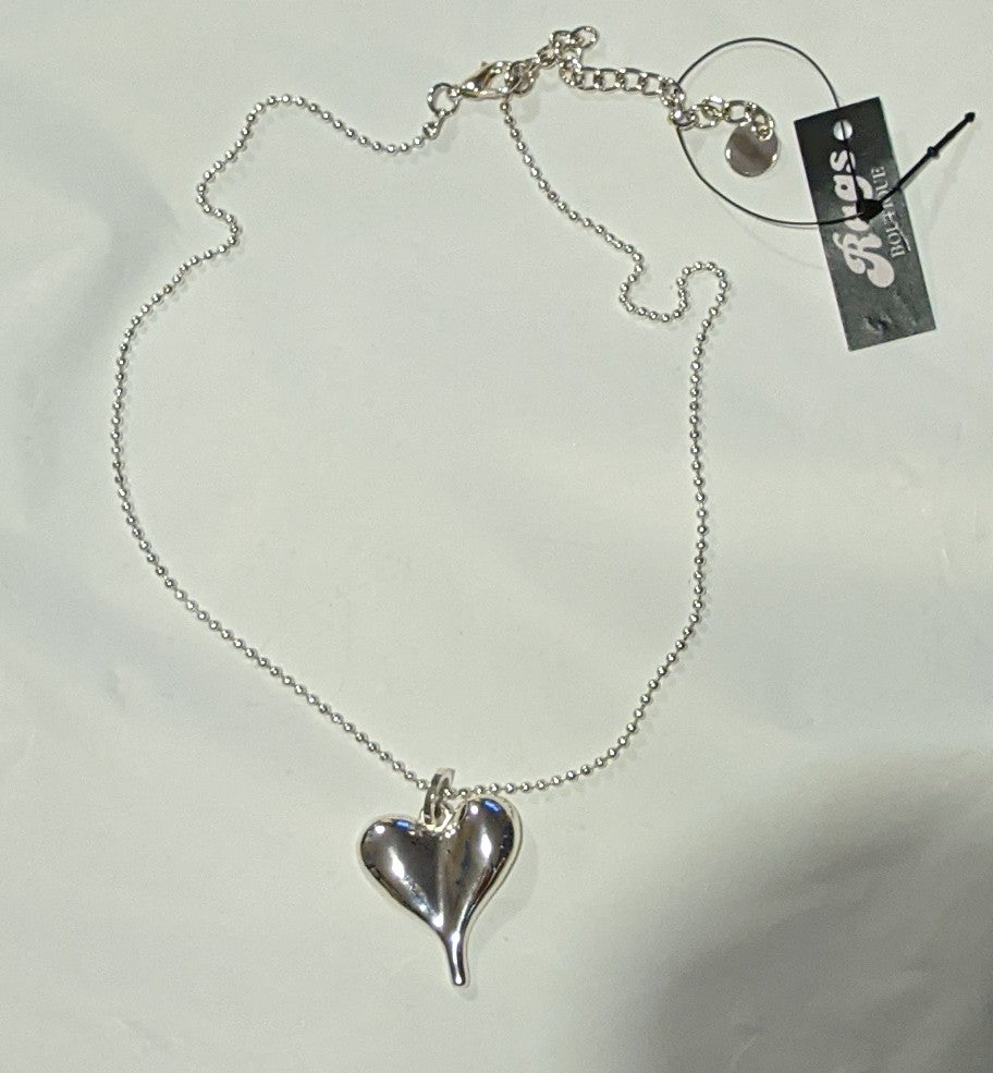 Raised Heart Necklace - Short with Adjustable Chain
