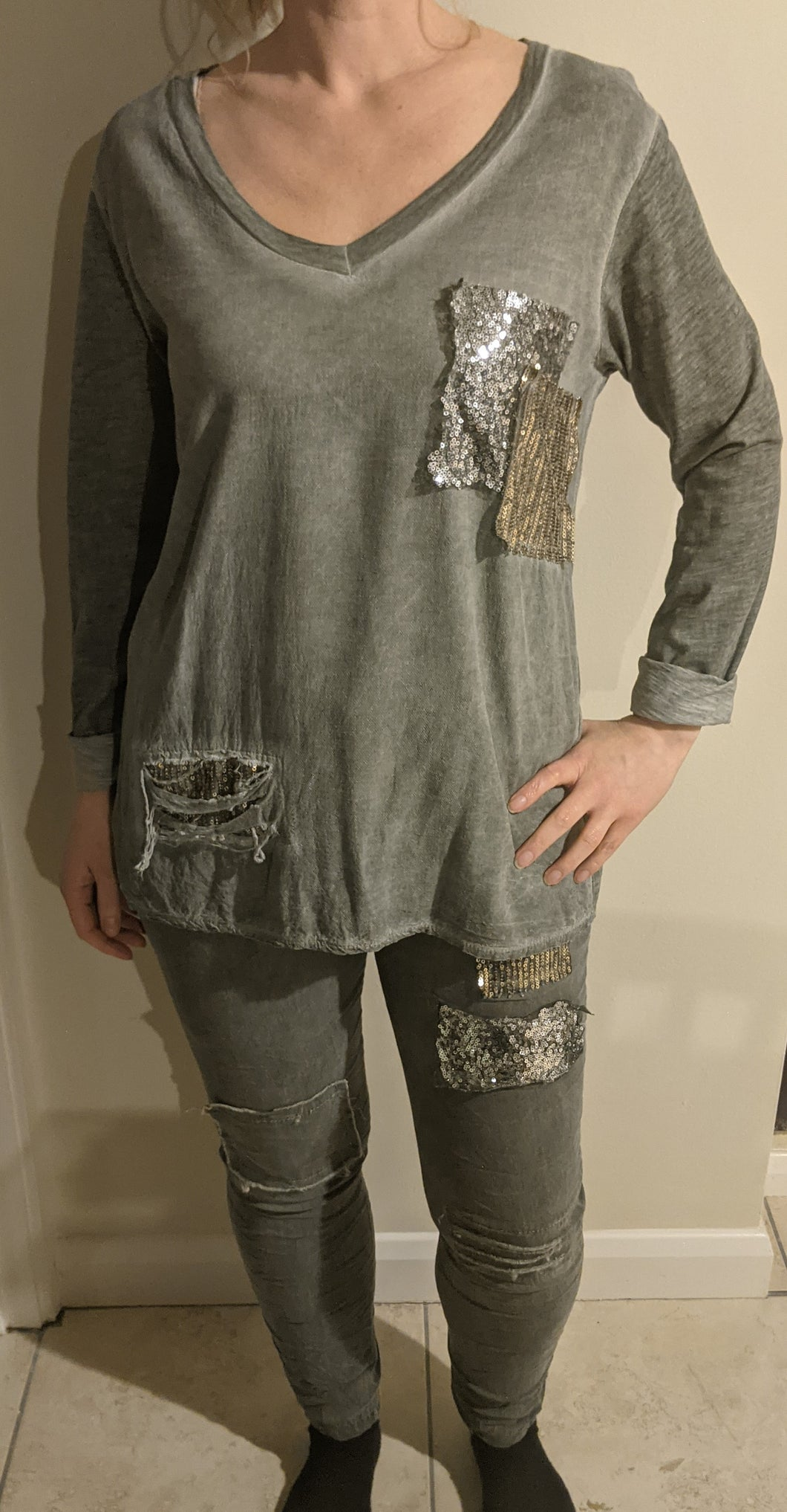Lightweight V Neck Top - Distressed, Relaxed Fit with Patch Sequins