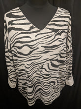 Load image into Gallery viewer, V Neck 3/4 Sleeve Top - Soft Brushed Wool Mix in Zebra Print