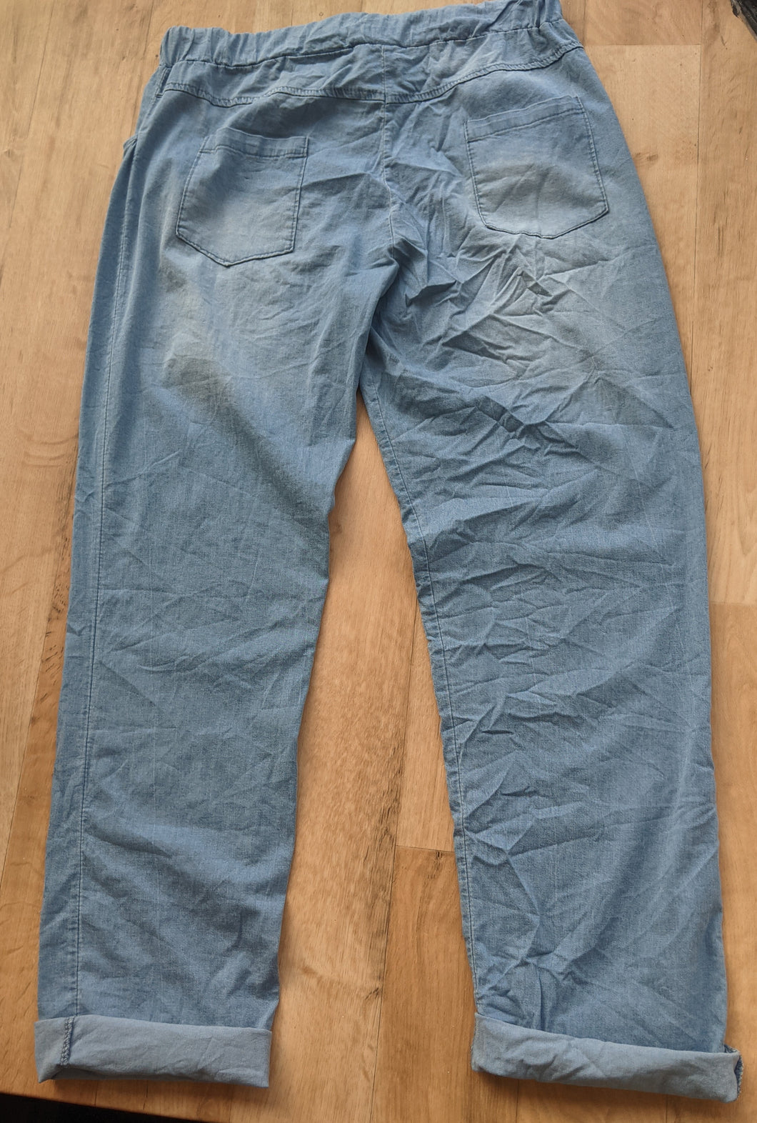 Lightweight Denim Look Drawstring Trousers - Faded Look For Size 14 to 22