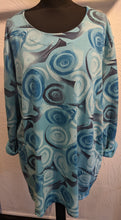 Load image into Gallery viewer, Long Line Sweatshirt with Abstract Swirl Rose Print